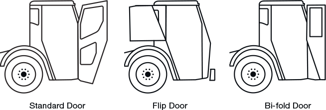 Line drawing of door options