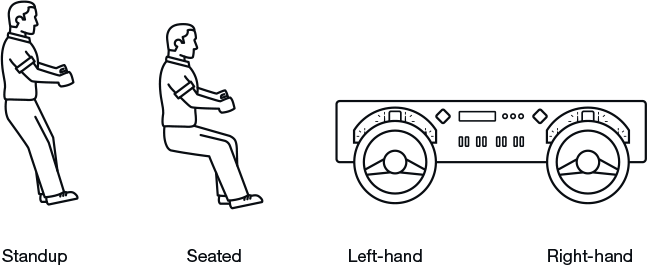 Line drawing of driving configuration options
