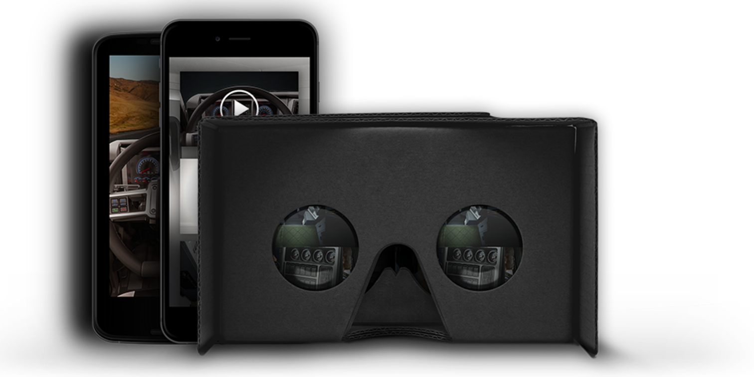Virtual Reality headset viewer in front of two smartphones