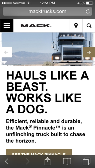 Macktrucks.com mobile homepage