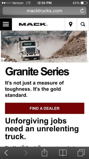Macktrucks.com mobile series page