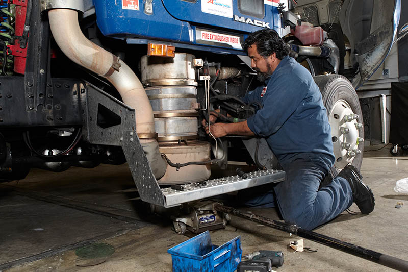Mack Technician servicing Pinnacle Tractor