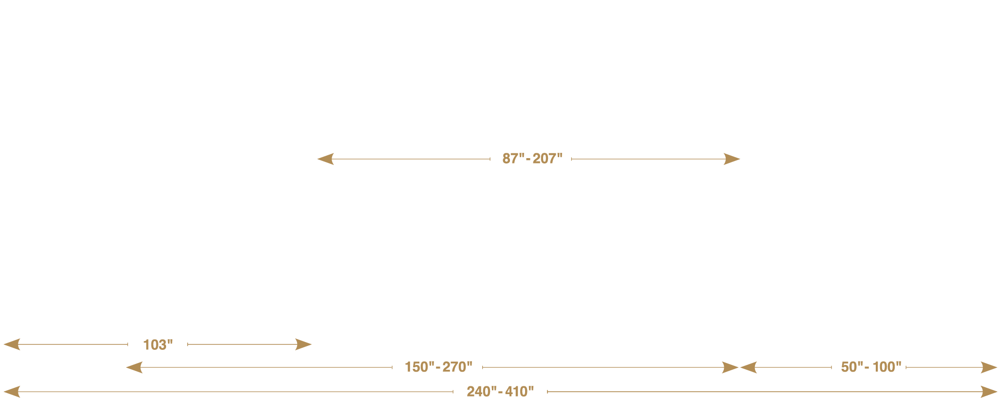 Side view of an illustrated Mack MD Series truck showing its range of lengths.