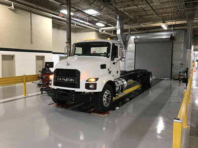 White Mack Medium Duty series Truck at Roanoke Valley Operations (RVO) facility Virginia