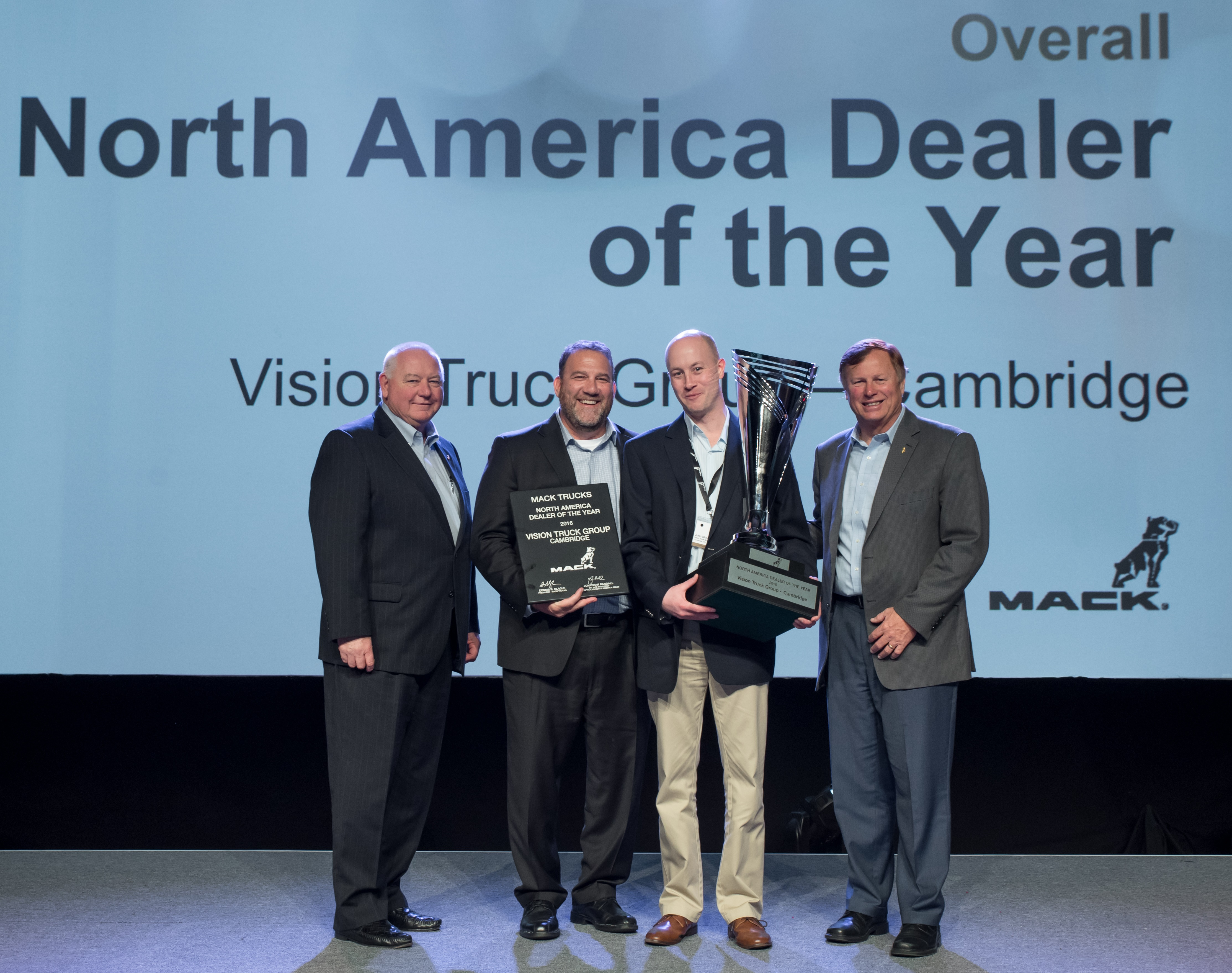 Mack Trucks named Vision Truck Group of Cambridge, Ontario, Canada its 2016 North American Dealer of the Year.