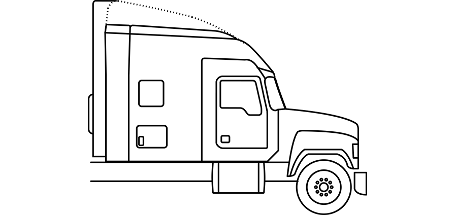 Line drawing of Pinnacle 70-inch Stand Up Sleeper