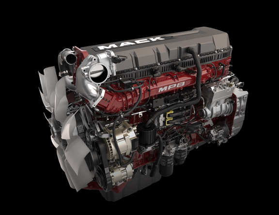 Mack Trucks MP8 engine front 3 quarter view