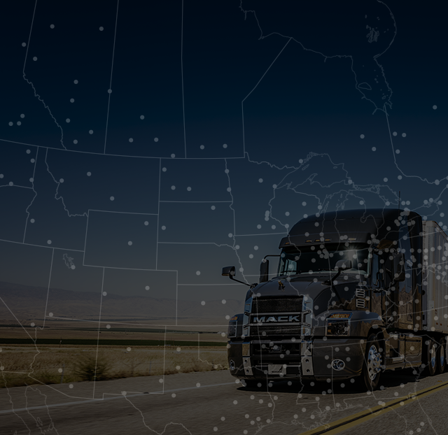 Mack Anthem on the highway with a U.S. map overlay