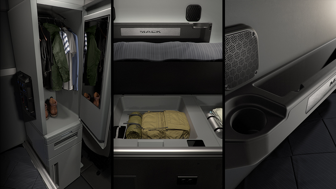 Split screen image of the Anthem interior wardrobe storage, under-bunk storage and back-wall storage.