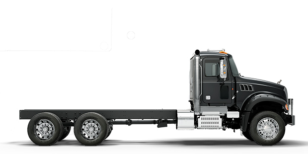 Side view of black Granite MHD truck