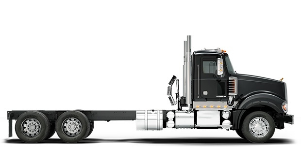Side view of black Titan truck